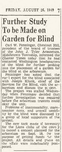 From the Chester Times newspaper archive, August 26, 1949, page 7. Accessible at: http://newspaperarchive.com/us/pennsylvania/chester/chester-times/1949/08-26/page-7