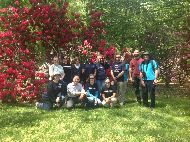 Members of Penn State Brandywine's walking club, spending their lunch hour strolling through Tyler Arboretum!