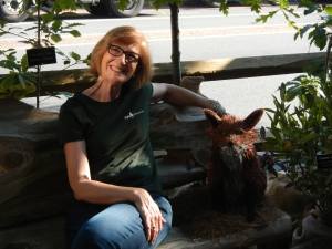 Tyler's Executive Director Cricket Brien with our friendly fox in the parklet